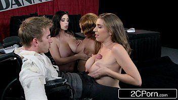 Suruba com três mulheres safadas fudendo com novinho